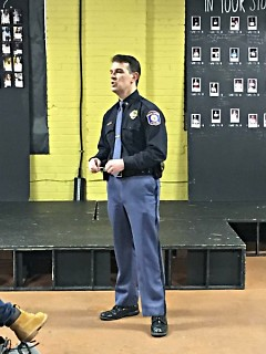 Chief David Rahinsky of the Grand Rapids Police Department at a community meeting