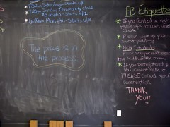 Chalkboards abound in The Funky Buddha and display upcoming events, reminders and sometimes the yoga sequence.