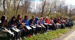 Seventh-grade students from Pinewood Middle School at Palmer Park