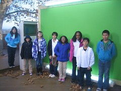 Cub Reporters from the GAAH Press Club, visiting WZZM 13's green screen