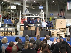 (L-R) VP Joe Biden, GR Mayor George Heartwell, ASC Plant Manager John Burns