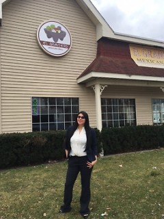 Paola Mendivil outside El Granjero in Grand Rapids.