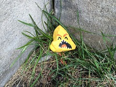 A distressed yellow monster found in a secret location just a few blocks from the Children's Museum.