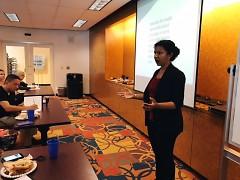 Managing Editor Kiran Sood Patel speaks during the first fall Community Journalism Workshop.