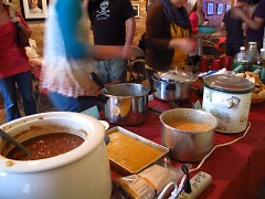 The spread, provided by six main volunteer chefs.