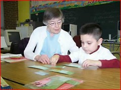 Sister Josine Shafer tutoring.