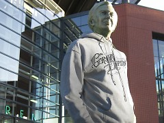 Jay Van Andel sports the old Grand Rapids logo on a downy cotton hoodie.