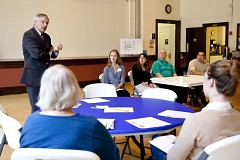 Mayor Heartwell spoke briefly at a literacy forum among other leading literacy advocates in Grand Rapids.