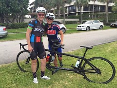 Woodring (left) with tandem bike partner Shawn Cheshire.