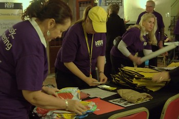 Patricia Walsh, Anne Videtich, and Sharon Aalderin prepare items that raise additional funds for Gilda's Club.