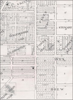 A portion of an 1884 map of Grand Rapids showing several streets with old names, including Crabapple Alley and Christ Street.