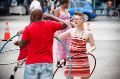 Adria Larsen hula hooping at the 2013 Market