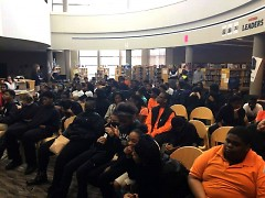 Muskegon Heights students at a meeting about the possible closure of their school