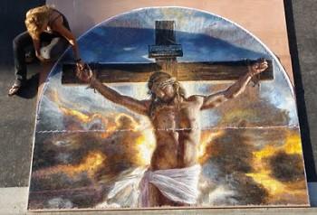 """Mia Tavonatti has a private moment with """"Crucifixion"""""""