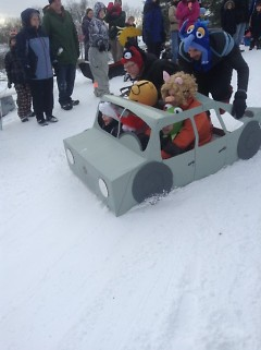 Crazy Cardboard Sled racers prepare for their trip down the Richmond Park hill