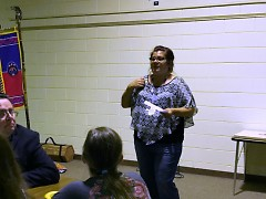 Amy Westcott, Student Parent Coordinator speaking at the meeting.