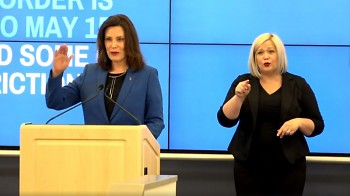 "Gov. Whitmer provided COVID-19 response updates and details of ""Stay Home, Stay Safe"" order extension through May 15."
