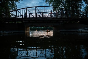 Riverside Park in Grand Rapids at dusk.