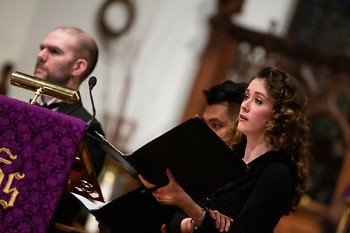 Nola Richardson sings with the Grand Rapids Symphony and Trinity Wall Street Choir at the 2019 Grand Rapids Bach Festival.