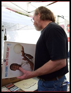 Customer buying a record at the WYCE music sale