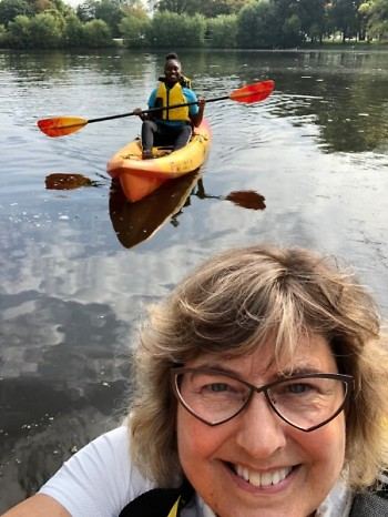 Heemstra kayaking with students.