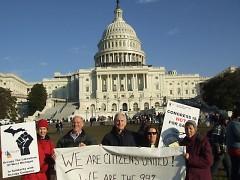 Vanderstelt at an Occupy event in Washington D.C.