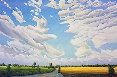 Overvoorde's art bears the mark of the West Michigan landscape, as in this painting of 84th Street in Byron Center.