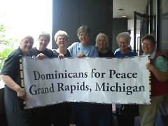 Gramd Rapids Dominicans prepare for rally and march.
