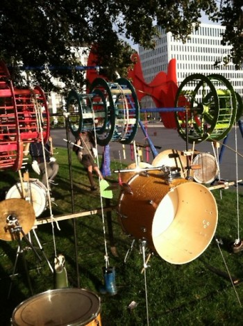 The Swing Set Drum Kit all set up at Calder Plaza!