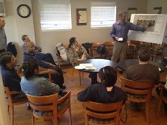Westown Commons concept plan is reviewed by the Neighborhood Planning Team in preperation for the neighborhood meeting Nov 1st