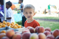 Fresh fruit, like the peaches here, are favorite among children at the YMCA Farmers Market.