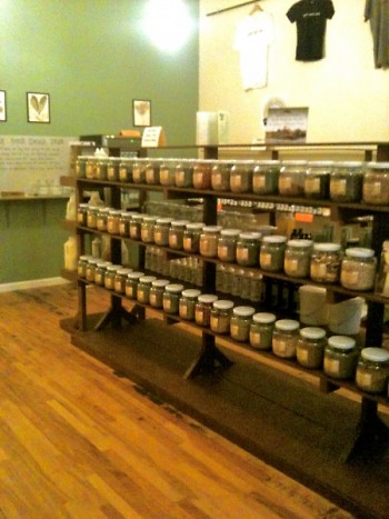 Endless shelves of bulk herbs that you can package yourself to create mix and match flavors.