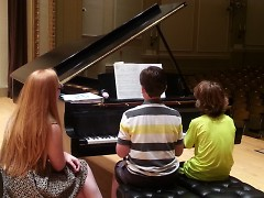 Four-handed piano recitals are part of the 10th Annual Stella Royce Piano Camp experience