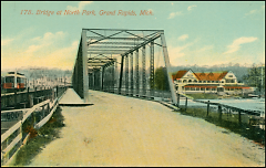 The North Park Bridge as it looked shortly after it was built. The North Park Pavilion can be seen on the other side of the Rive
