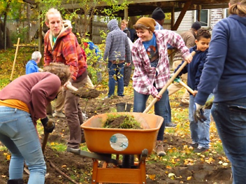 Well House volunteers plant a fruit orchard last fall