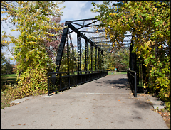 The old North Park Bridge as it looks today crossing a canal in the northern end of Riverside Park.