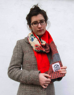 Pearl Beerhorst models sister Rose's hand crafted scarf