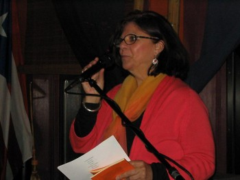 Moret reads her poetry at the Guild Literary Complex in Chicago.