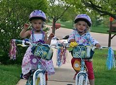 Rachel and Kaitlyn on their birthday bikes.