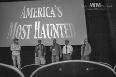 "Morgan, far right, at a Q + A for ""America's Most Haunted"""