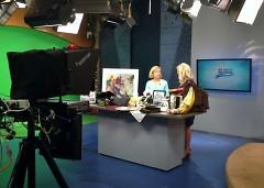 "Grand Rapids Symphony Women's Committee president Bonnie Monhart (left) talks with Lauren Stanton on WZZM's ""My West Michigan"""