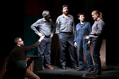 """Playwright Austin Bunn (left), with actors Paul Walsh, Chris Nye, Rena Dam and Ella Swift, on the set of """"Rust"""""""