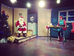 Santa Claus and Buttons the Elf in the GRTV Studio