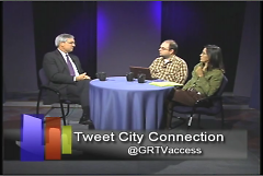 Mayor George Heartwell talks to GRCMC's Tom Schwallie and Linda Gellasch on last month's City Connection