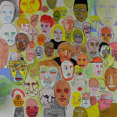 "Otto's previous work, ""Faces"", from 2012. Made with acrylic, paint pen, and marker."
