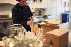 Jacob Horlings of Seoul Foods preparing his goods.