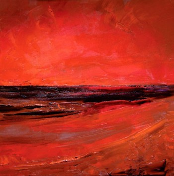 "Sheryl Budnik, Red Beach at Night, oil on canvas, 20""x20"""