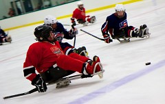 With support from the Grand Rapids Griffins, the adaptive sports team The Sled Wings compete throughout the area in hockey.