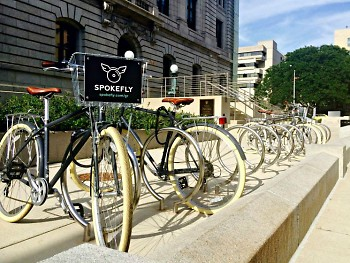 Spokefly bikes in front of Kendall