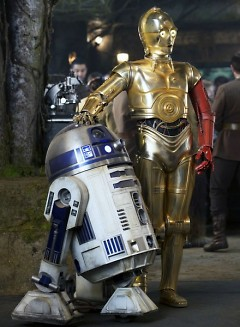"R2-D2 and C-3PO in ""Star Wars: The Force Awakens."""